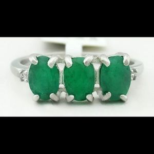 GENUINE 2.24 Cts EMERALDS RING .925 Sterling
